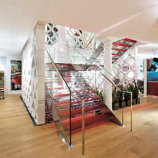 Custom made staircase for flagship NYC store