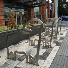 Stainless steel cycle stands for Elk Mill Retail Park