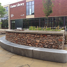 Modern granite bench for Exeter Library
