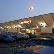 Mesh used for tensile canopy at Sainsbury's store