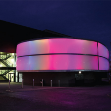 Pillow facade with LED lighting for Salford Law school