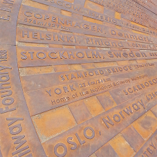 Bespoke cast iron ground compass for Leeds Central Station