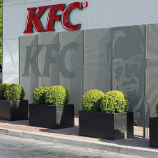 Perforated metal screens for KFC drive thru
