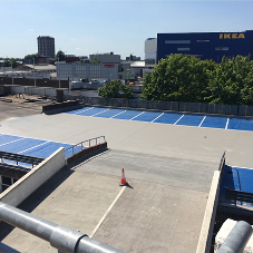Fast curing car park system for city car park