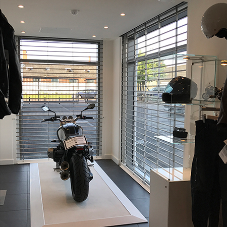 Bolton Gate Security grilles at BMW Motorcycle showroom