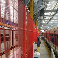 Indoor fencing and gates for train laydown area