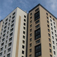 Contemporary window frames at Hulme and Nolan Court