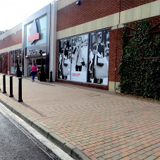 High capacity channel system drains at Designer Outlet