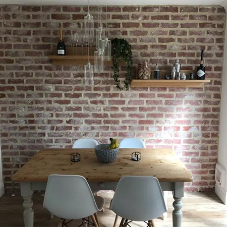 Antique whitewashed brick slips for dining room