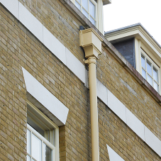 Heritage-style guttering at experimental urban village