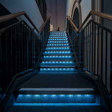 Gradus' blue LED stair edgings at the Met Theatre