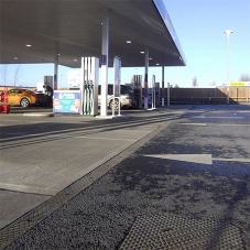 Hauraton surface drainage installed at Tesco Petrol Station