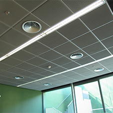 Corrugated wire mesh panels for ceiling