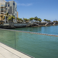 Glass railing system for safety & sea views