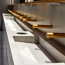 Rose gold washroom accessories for London offices