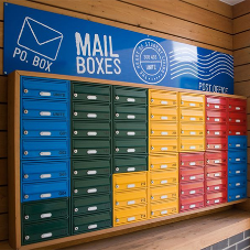 Colourful and bright mail boxes for student accommodation