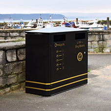 Double litter bin solution for Poole Quayside