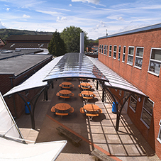Outdoor dining shelter at Balcarras School