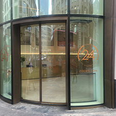 Curved glass doors at King William Street