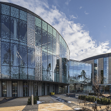 Design flare with structural glazing for Edinburgh UNI