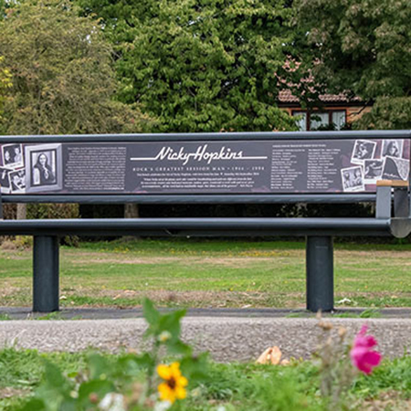 Memorial bench for musician Nicky Hopkins