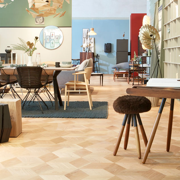 Hexparket flooring for real-life Danish living room