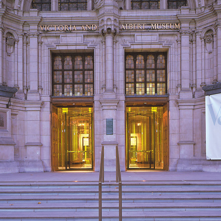 Revolving doors welcome visitors at the  Victoria & Albert Museum