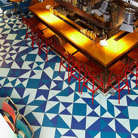 Colourful and funky flooring for Giraffe