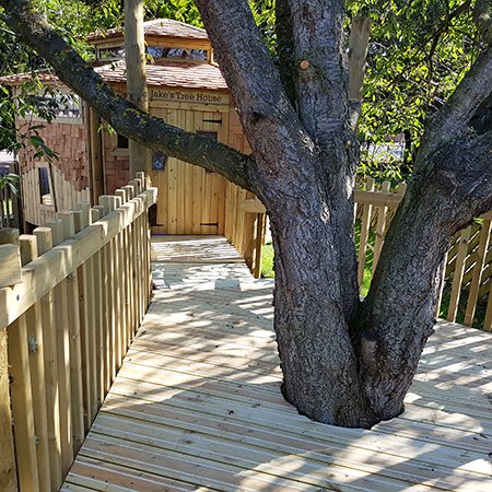 Anti-slip timber decking for beautiful memorial treehouse