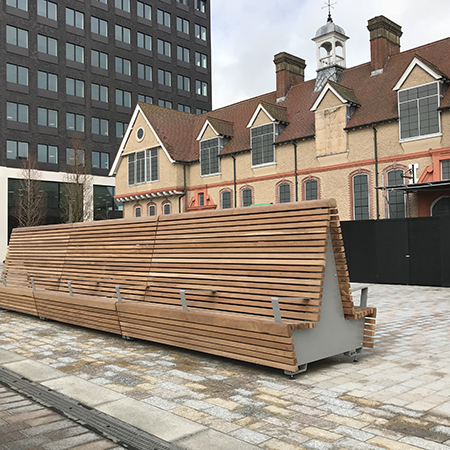 Comfortable high back double-sided seating for Royal Albert Dock