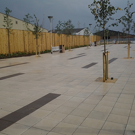 Flag paving for supermarket giant Tesco in Lincoln