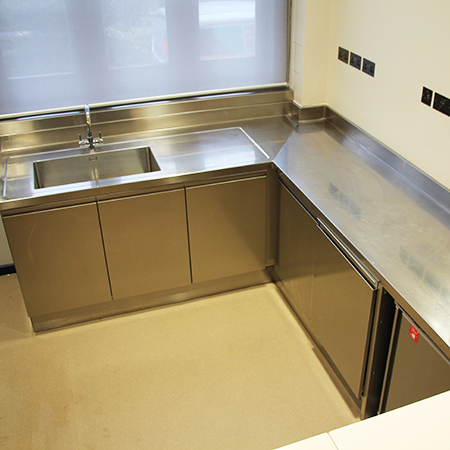 Bespoke stainless-steel units and worktop for historic London venue