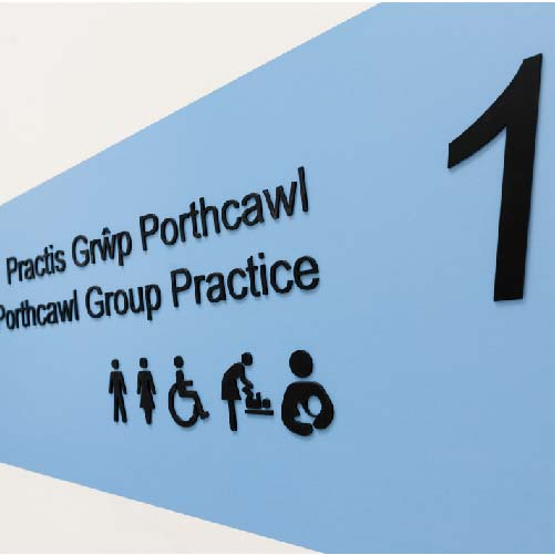 Branding and wayfinding graphics for Porthcawl Medical Centre