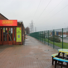 Hornby Visitor Centre secured with EuroGuard® Regular Mesh Panels