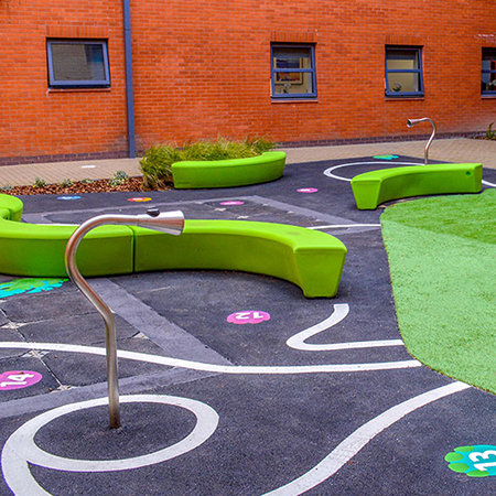 Colourful Loop Arc Benches for Wythenshawe Hospital