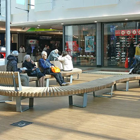 Internal timber furniture for Lewisham Shopping Centre