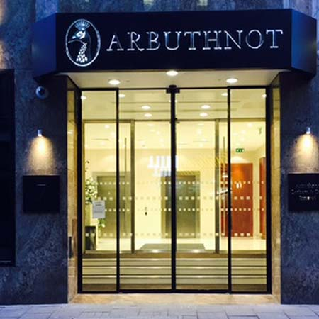 Two sets of bi-parting doors add aesthetics for Arbuthnot Banking