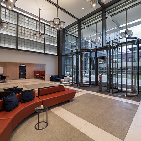 Bespoke revolving doors adds edge to office space