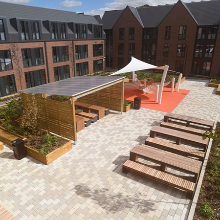 Modern external works package for student accommodation