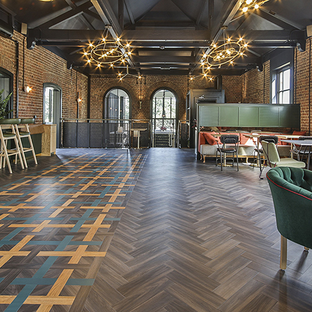 Beautiful LVT flooring for 'Hox Haus' social amenity in Surrey
