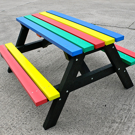 Outdoor school furniture that never needs painting