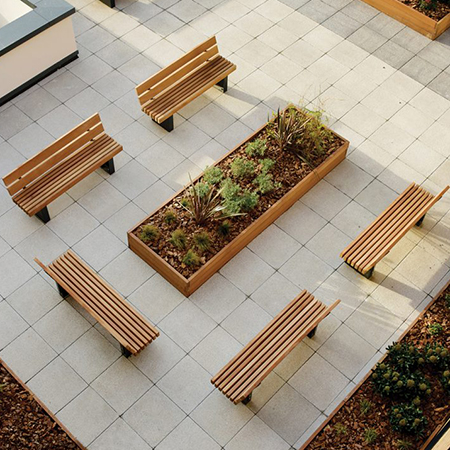 Beautiful street furniture provides tranquility for roof terrace