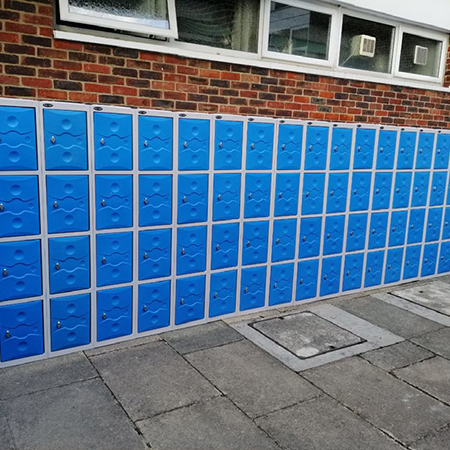 Secure royal blue indoor and outdoor lockers at Croydon High School