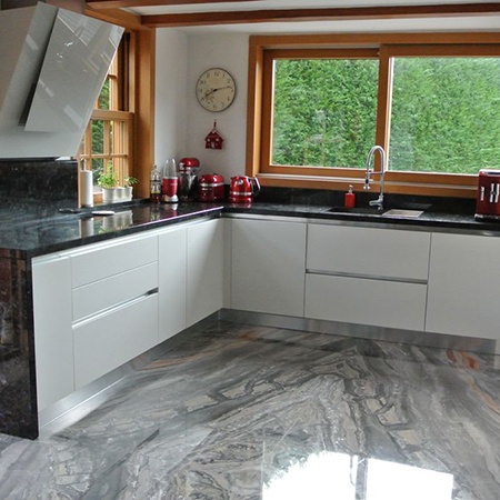 Beautiful natural stone flooring adds wow factor to Swiss cottage