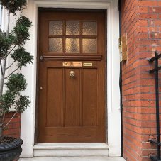 New solid oak front door at Carlos Place, Mayfair