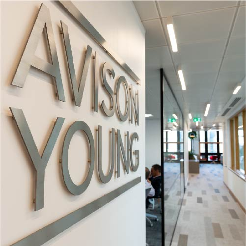Bespoke wayfinding signage at the Avison Young building in Birmingham