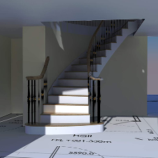 Digital rendering for H&S Joinery staircase project