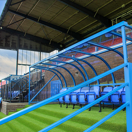 Sports dugouts and crowd barriers for Macclesfield Town Football Club