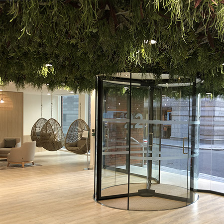 Stunning TORMAX glass revolving door for modern office in Blackfriars