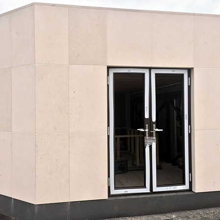 Beautiful Jura Beige Limestone Cladding for refurbished Cornwall House
